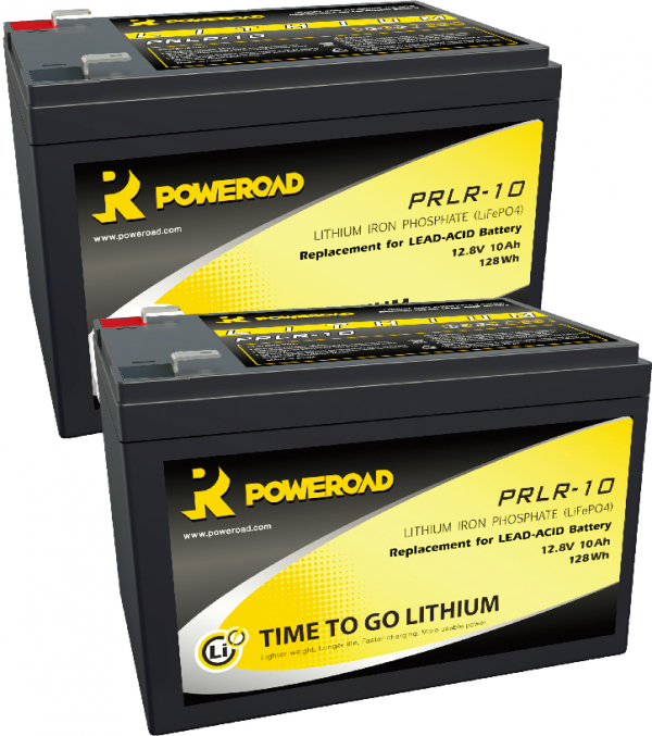PAIR OF 12V 10AH POWEROAD LITHIUM MOBILITY SCOOTER BATTERIES-0