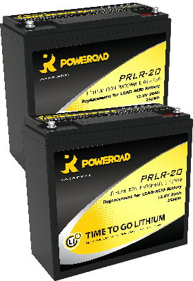 Pair of 12v 20AH Poweroad Lithium Mobility Scooter Batteries-0