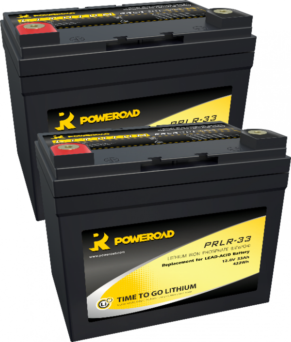 PAIR OF 12V 33AH POWEROAD LITHIUM MOBILITY SCOOTER BATTERIES-0