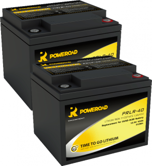 PAIR OF 12V 40AH POWEROAD LITHIUM MOBILITY SCOOTER BATTERIES-0
