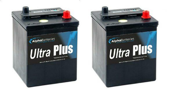 Pair of 6V 421 Ultra Plus Classic Car Batteries (EU80-6)-0