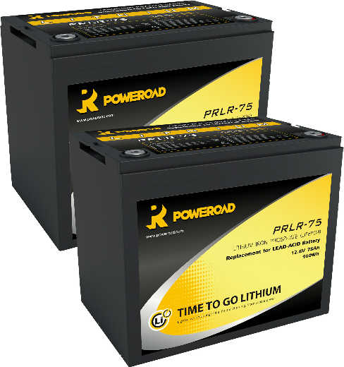 PAIR OF 12V 75AH POWEROAD LITHIUM MOBILITY SCOOTER BATTERIES-0