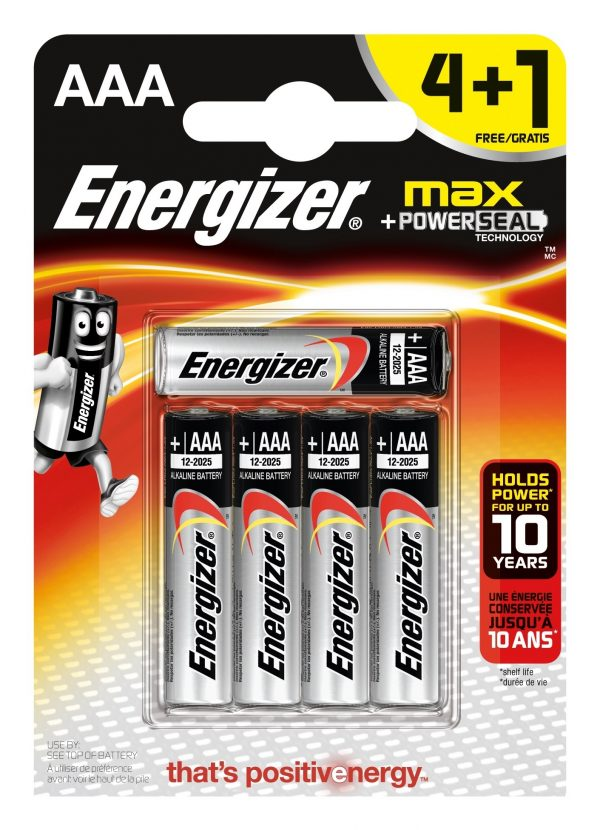 Energizer Max AAA LR03 4+1 5 Pack of Batteries-0