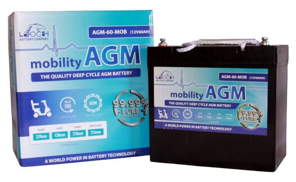 Pair of 12V Leoch 60AH AGM Mobility Scooter Batteries (AGM-60-MOB)-0