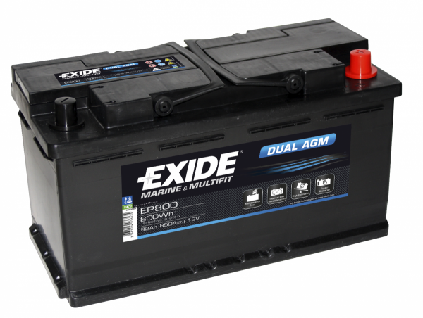 12v 95AH Exide EP800 Dual AGM Leisure Battery NCC Class A-0