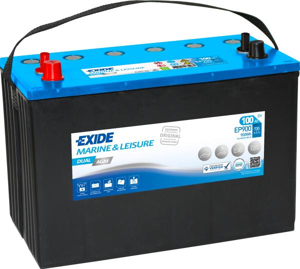 12V 100AH Exide EP900 Dual AGM Leisure Battery NCC Class A-0