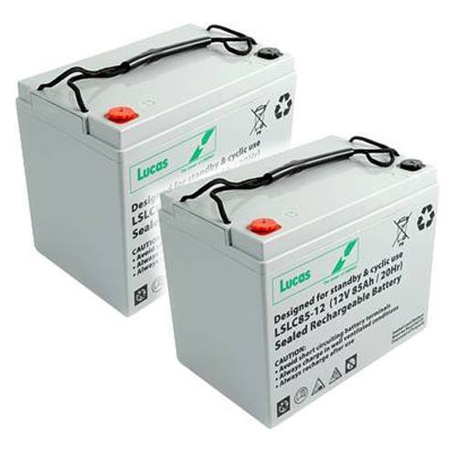 Pair of 12V LUCAS 55AH Mobility Scooter Batteries (LSLC12-55)-0
