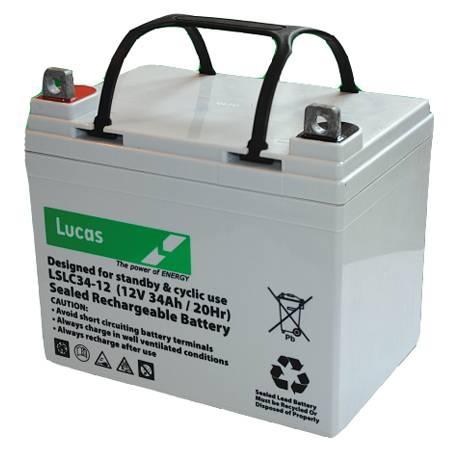 34AH Lucas AGM Lawnmower Battery-0