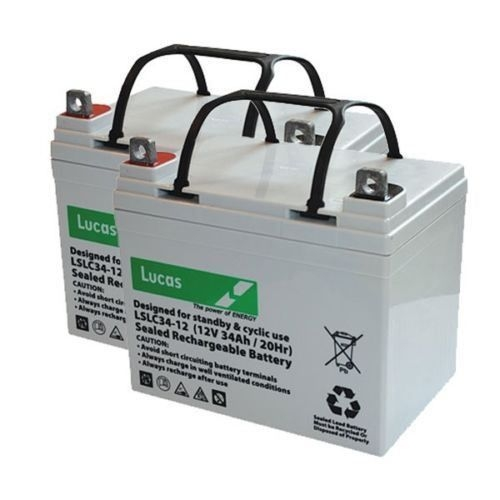 Pair of 12v Lucas 34AH Mobility Scooter Batteries-0