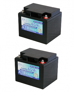 Pair of 12V Leoch 42AH AGM Mobility Scooter Batteries (AGM-42-MOB)-0