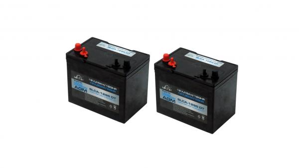 Pair Of 12v Leoch 90ah Lead Carbon Agm Golf Buggy Batteries-0